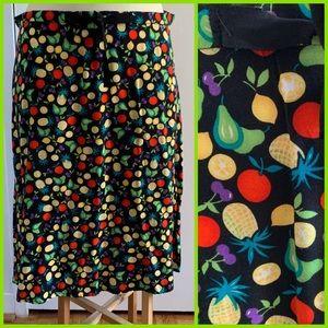 Sag Harbor | Stylized Fruit Print Skirt